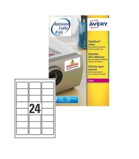 Poliestere adesivo extra L6141 bianco 20fg A4 63,5x33,9mm (24et/fg) laser Avery
