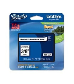 NASTRO BROTHER TZE-221 9MMx8MT NERO/BIANCO