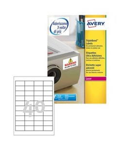 Poliestere adesivo extra L6140 bianco 20fg 45,7x25,4mm (40et/fg) laser Avery