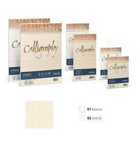 25 BUSTE CALLIGRAPHY CANVAS 110X220MM 100GR 01 BIANCO