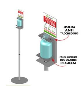 Piantana da terra con supporto per dispenser regolabile