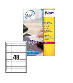 Poliestere adesivo L6113 bianco antim. 20fg A4 45,7x21,2mm (48et/fg) laser Avery