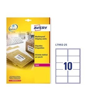 Poliestere adesivo L7992 bianco imperm 25fg A4 99,1x57mm (10et/fg) laser Avery